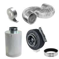 250mm (10 inch) Hydroponics Ventilation Duct Fan Carbon Filter Ducting Kit