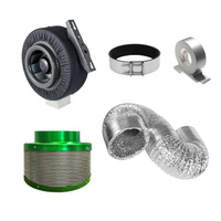 100mm (4 inch) Hydroponics Ventilation Duct Fan Carbon Filter Ducting Kit