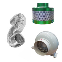 4inch Ventilation Kit Inline Fan Carbon Filter Ducting Hydroponics Extractor